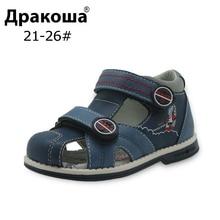 Apakowa/Новая летняя детская обувь; Брендовые сандалии с закрытым носком для маленьких мальчиков; Ортопедические спортивные сандалии из искусственной кожи для маленьких мальчиков