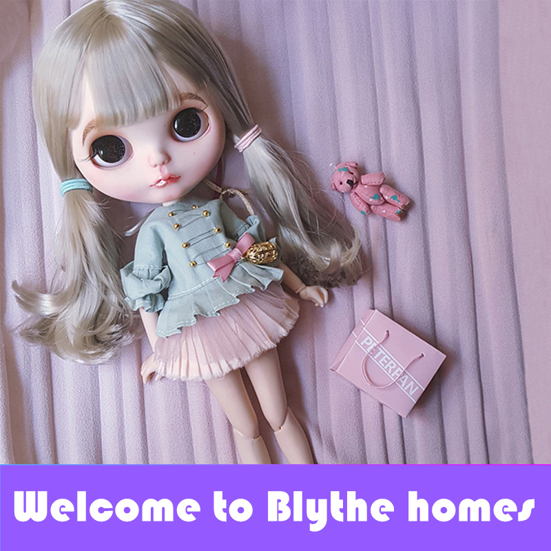 Free shipping factory blyth doll BL8800 grey straight hair with bangs fringes normal body 1 6