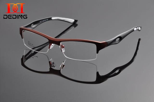 DeDing Atraente Design Diferenciado Dos Homens Marca Confortável Esportes TR90 Metade Quadro Quadrado Óculos de Armação Oculos de grau DD1117