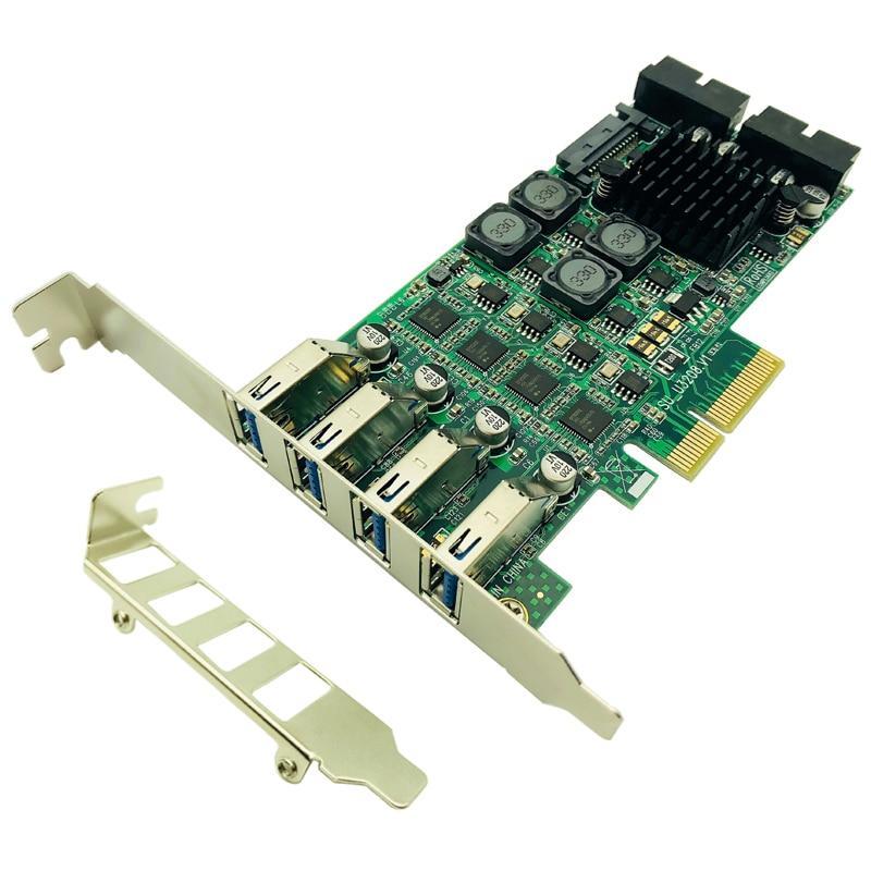 PCI Express PCI-E vers USB 3.0 carte d'extension Raiser 8 Ports USB 3.0 contrôleur SATA alimentation indépendante 4 canaux pour serveur de caméra