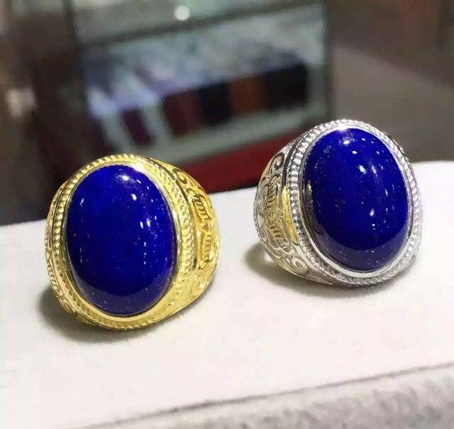 Natural lapis lazuli tourmaline Ring Natural gemstone Ring 925 sterling silver trendy luxurio big round women men party Jewelry