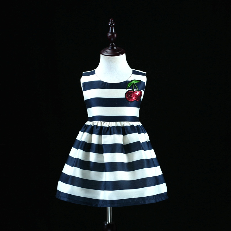Brand family look children party clothing mama and babe navy striped dress infant girl Summer party dress mom and daughter dress music note party swing dress