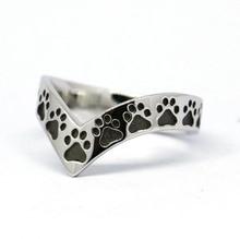 Твердые стерлингового серебра собака следы, Paw кольцо, щенок ноги рычаг кольцо (# R224)