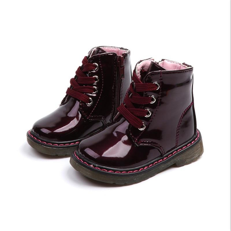 4ad58f80a Comprar Nuevos zapatos para niños PU cuero impermeable Martin botas marca  niños niñas niños botas de goma moda Zapatillas EU 21 30 Online Baratos