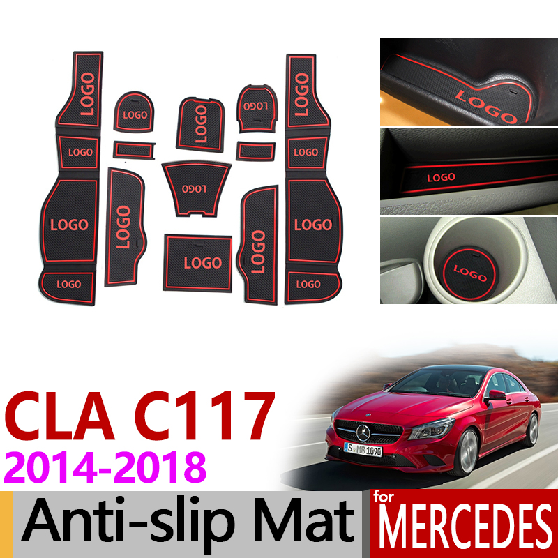 Anti-Slip Gate Slot Mat Rubber Coaster for Mercedes Benz CLA C117 W117 Accessories 2014 2015 2017 2018 180 200 220 250 AMG 45 for mercedes benz cla class w117 cla180 cla200 cla250 cla45 amg carbon fiber front lip splitter flap canard fits sporty car amg