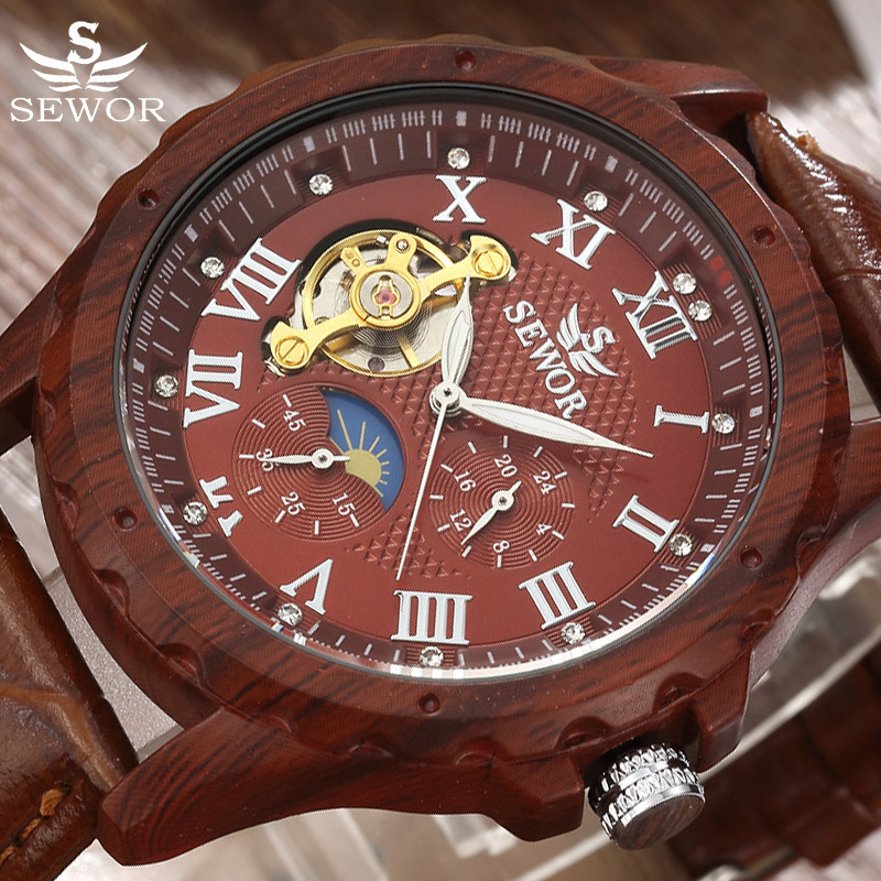 SEWOR Top Brand Luxury Tourbillon Automatic Mechanical Watch Men Wood Business Watch Retro Leather Watches Relogio Masculino