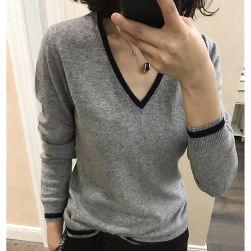 2019 High Quality Cashmere Sweater Women Autumn Pullover Solid Knitted V-neck Sweater Outerwear Tops Female Fashion Sweater
