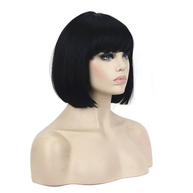 StrongBeauty kadın peruk Bob siyah saç kısa düz doğal sentetik kapaksız peruk renk seçenekleri