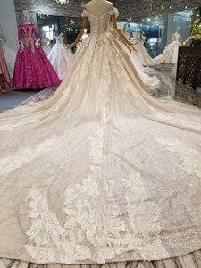 Image 2 - LSS083 shiny lace bling wedding dresses off the shoulder sweetheart long train vestido de novia para boda civil corto