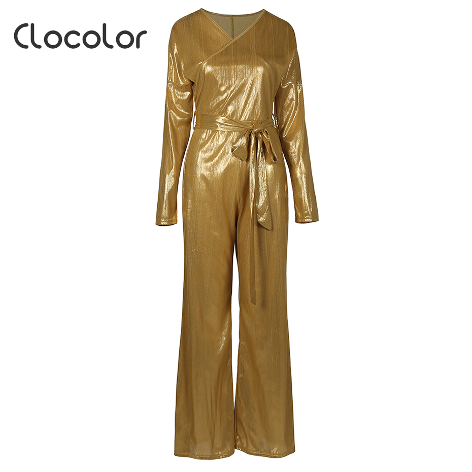 Clocolor Shinny Jumpsuit Rompers overalls trousers plus size full length sleeveless loose high waist 2018 New elegant jumpsuits