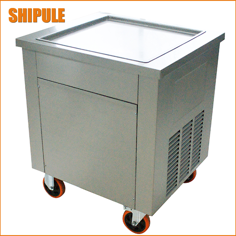 Free shipping  Thailand Fried Ice Machine big Square pan  ice cream cold  plate Fried Ice Cream roll machine free shipping big pan 50cm round pan roll machine automatic fried ice cream rolling rolled machine frying soft ice cream make