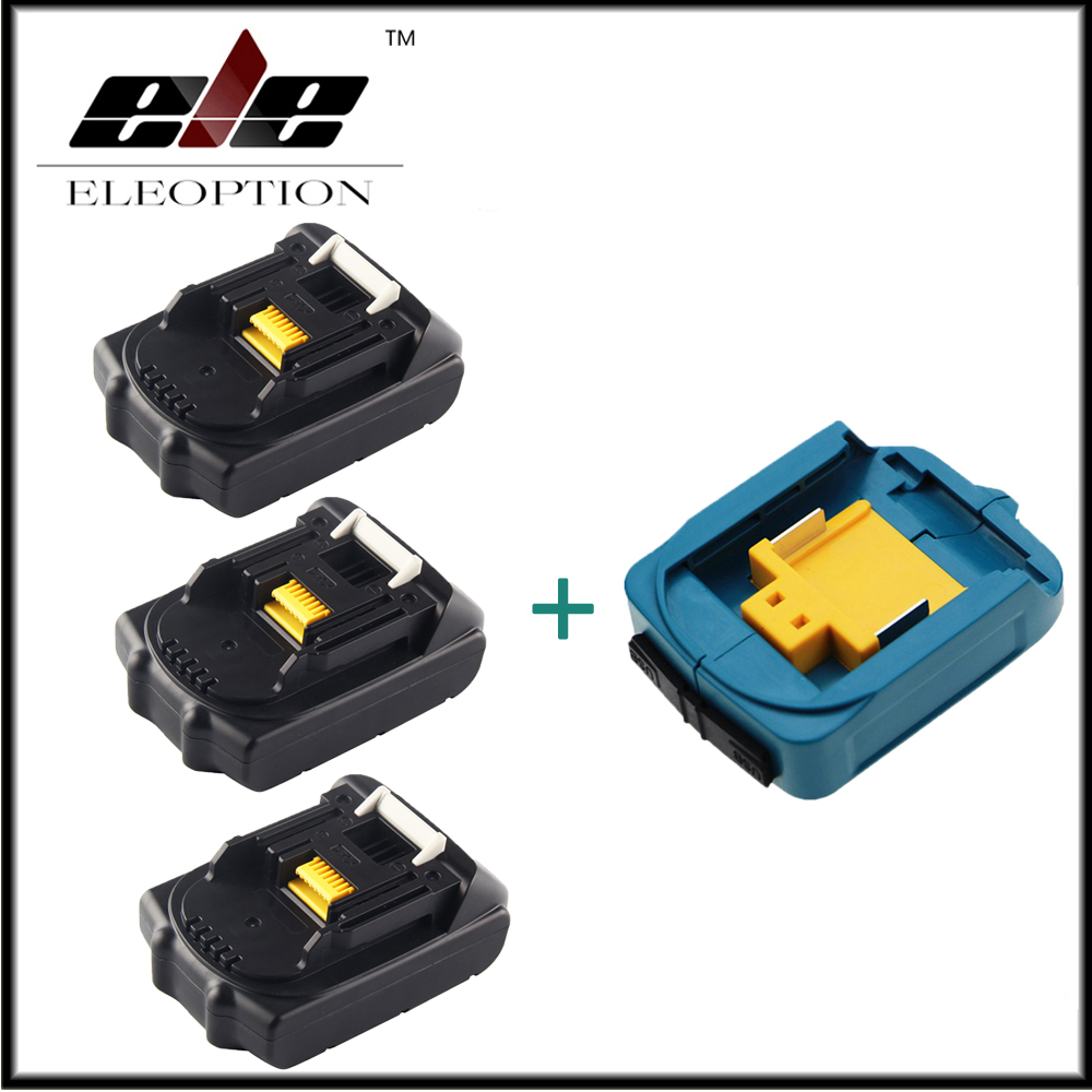 3x Eleoption 18V 2000mAh Li-ion Replacement Battery For MAKITA 194205-3 194309-1 BL1815 + USB Power Charger Adapter For Makita eleoption 2pcs 18v 3000mah li ion power tools battery for hitachi drill bcl1815 bcl1830 ebm1830 327730