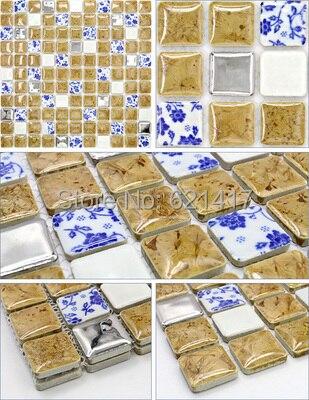 Superior Blau Und Weiß Porzellan Khaki Keramikmischglasmosaik Metall Mosaik Fliesen  Für Küche Backsplash Dusche Esszimmer Schlafzimmer Wand