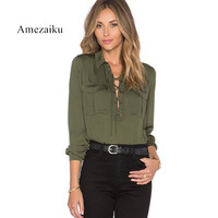Women Ladies Short Sleeve Camouflage Loose Army Green Blouse Shirts Asymmetric 2018 Spring Chest Flap Pockets Lace Up V-Neck