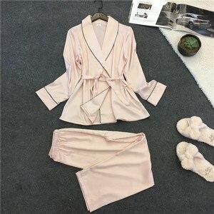Image 5 - Voplidia פיג מה חלוק סקסי חלוק רחצה נשים 2020 פיג מה סט חורף תחרה כתונת לילה הלבשת פיג מה Feminino Pyjama בגדי בית
