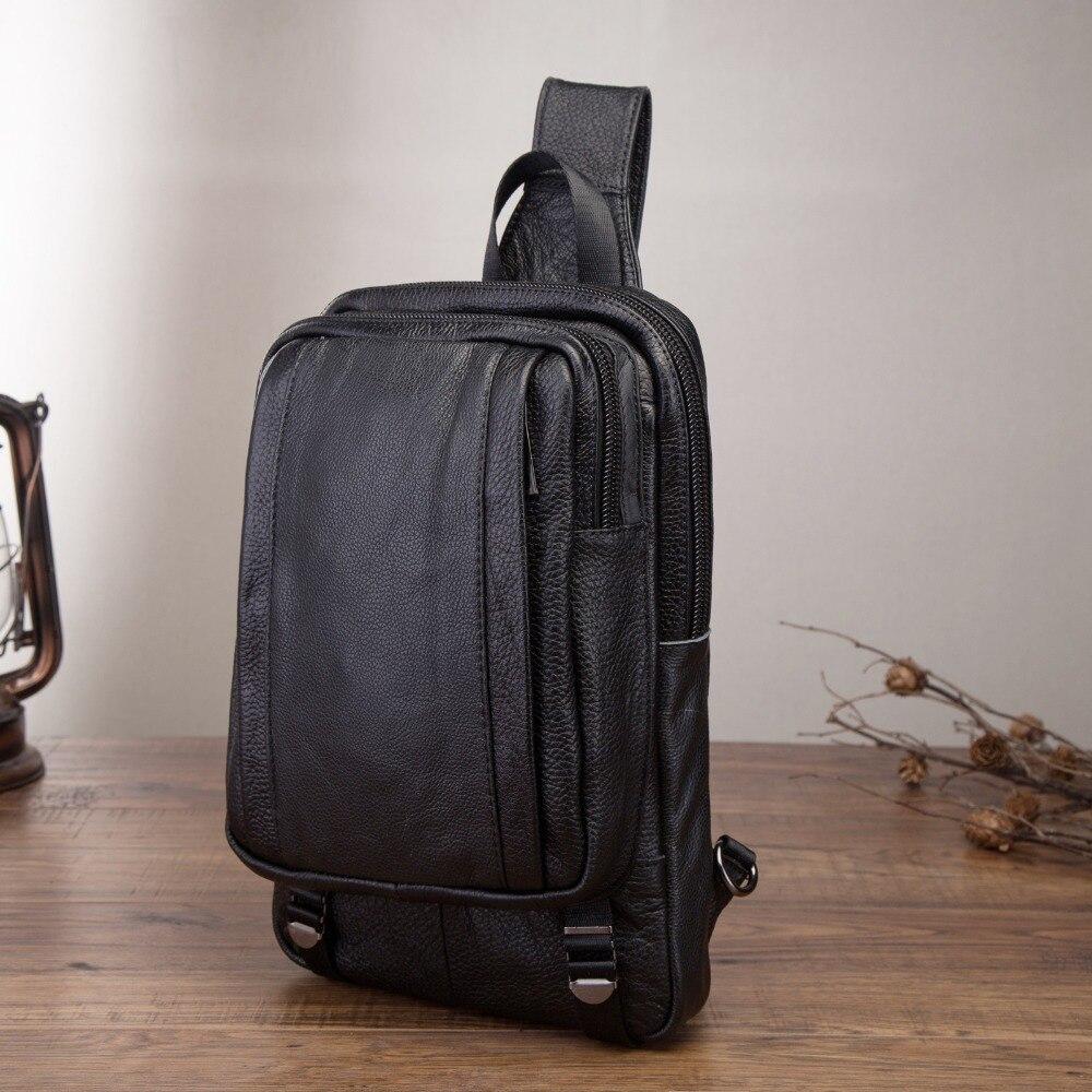 Genuine Leather Men Casual Fashion Travel Triangle Chest Sling Bag Black Design 10 Tablet One Shoulder