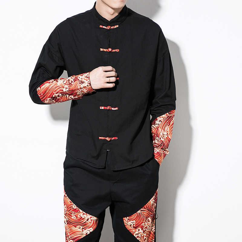 Estilo chino camisa de manga larga de los hombres casual collage ropa de calle camisa de los hombres de algodón camisa de manga larga 2019 nuevo estilo