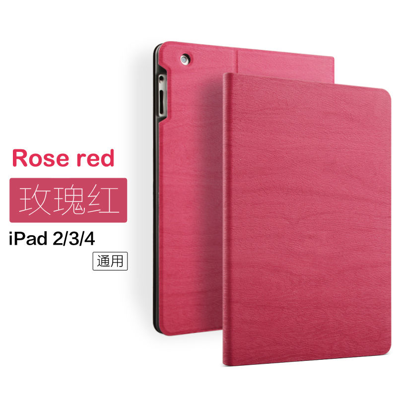 Wooden PU Leather Case Folio Stand Case Smart With Auto Sleep /Wake UP Cover For Apple Ipad 2/3/4 9.7Inch