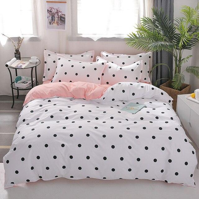 Juego de fundas de cama de Color blanco, ropa de cama de tamaño completo con estampado de puntos negros para niñas, dormitorio, cama de matrimonio, funda nórdica, juego de sábanas