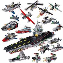 725Pcs Legoings Military Army Cars Airplane Destroyer Aircraft Carrier Weapon Model Building Blocks Kids Building Toys(China)