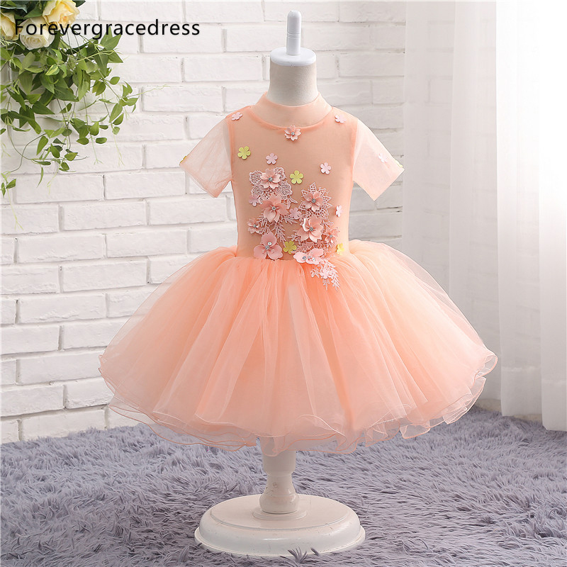 Forevergracedress Real Photos Peach Color   Flower     Girl     Dress   Cute Tulle Kids Pageant Children Gown