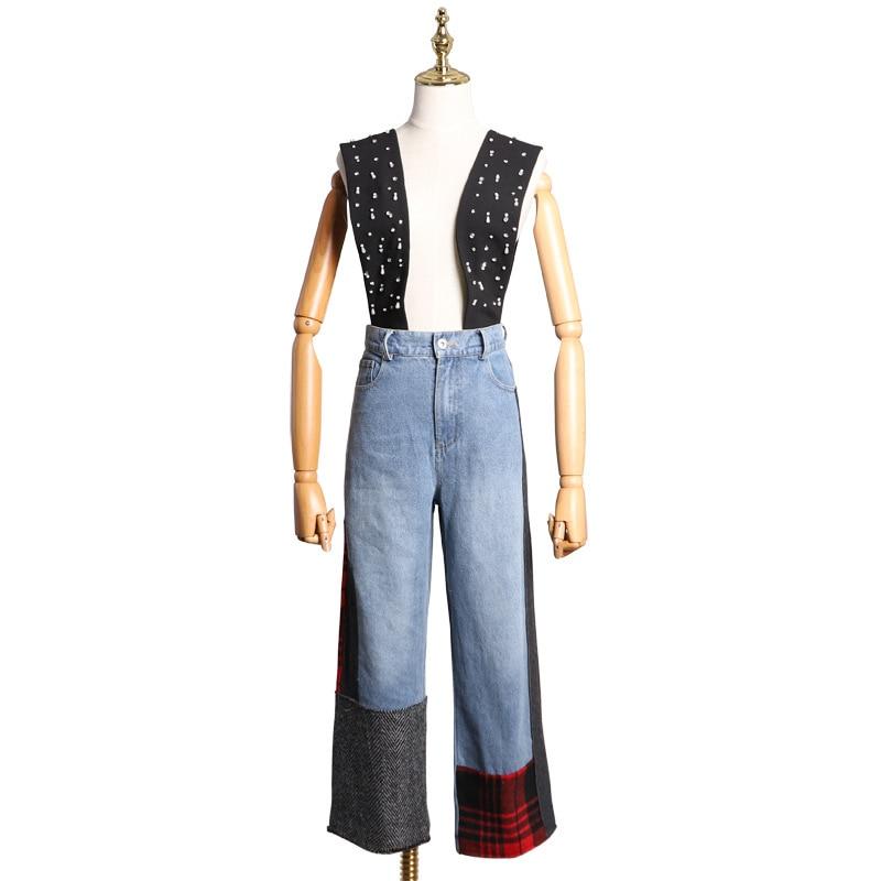 Et Designer Piste Fly Automne Vacances Lâche 2018 Large Haute Zipper Jeans 1 Rivet Patchwork Locations Taille Jambe Qualité tIq1pwZ