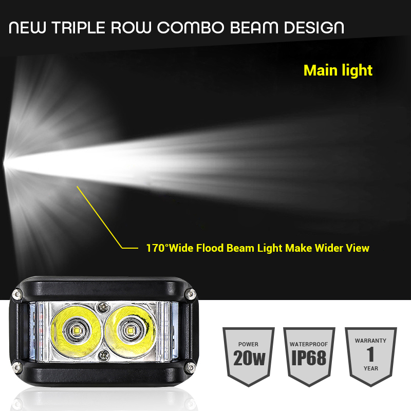 Image 3 - Work Light 20W Led Bar Side Flash Strobe Driving Fog Light for Offroad Truck Tractor SUV ATV Boat 4x4 Accessories rampe led Beam-in Light Bar/Work Light from Automobiles & Motorcycles