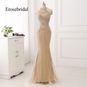 Image 1 - Elegant Long Evening Dress 2019 New Mermaid Beading Evening Gown Halter Color robe de soiree In Stock 48 Hour Shipping ZC6 2