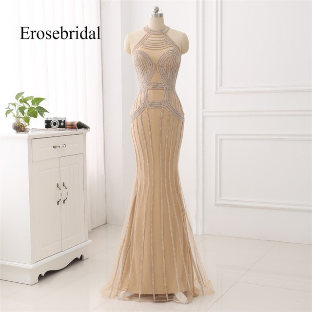 Elegant Long Evening Dress 2019 New Mermaid Beading Evening Gown Halter Color robe de soiree In Stock 48 Hour Shipping ZC6 2