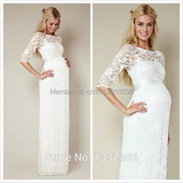 2015 Vintage Long High Waist Lace Maternity Wedding Dresses With ...
