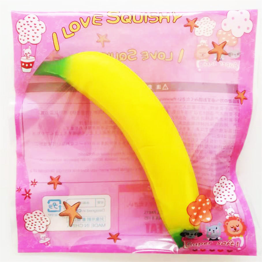 Cute Banana Squishy Super Slow Rising Jumbo Simulation Fruit Straps Soft Cream Scented Stress Relief Squeeze Toy Kid Fun Gift