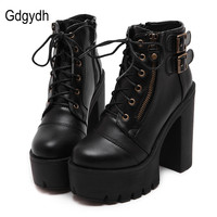 Gdgydh Hot Sale Russian Shoes Black Platform Boots Women Zipper Spring High Heels Shoes Lace Up Ankle Boots Leather Big Size 42