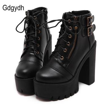 цена на Gdgydh Hot Sale Russian Shoes Black Platform Boots Women Zipper Spring High Heels Shoes Lace Up Ankle Boots Leather Big Size 42