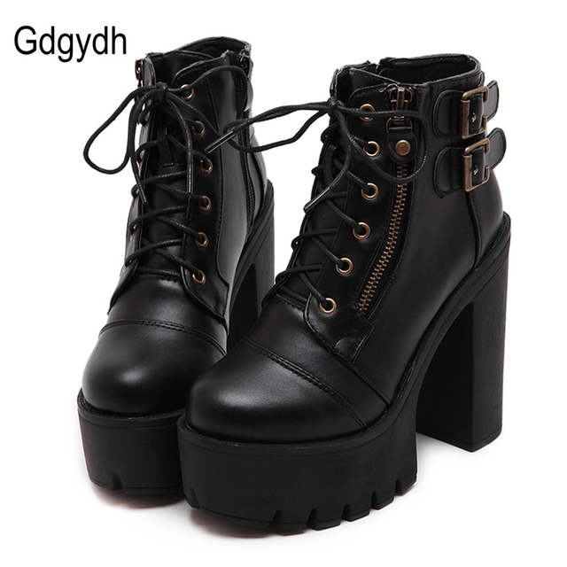 723d74fe51be placeholder Gdgydh Hot Sale Russian Shoes Black Platform Boots Women Zipper  Spring High Heels Shoes Lace Up