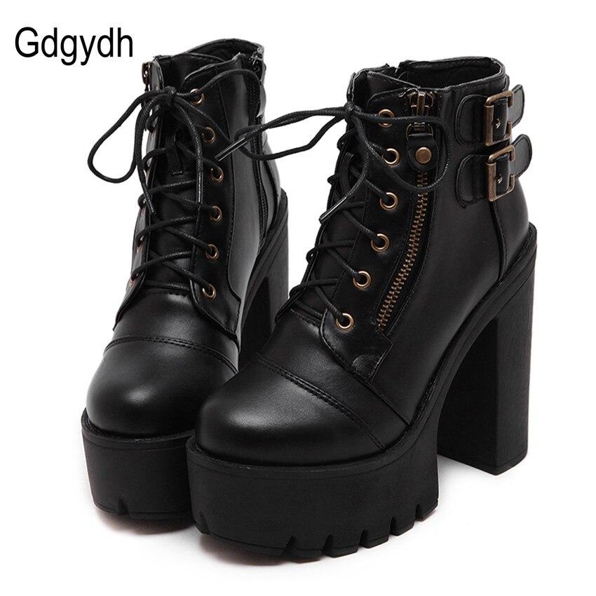 Gdgydh/Горячая распродажа обуви из России Черные сапоги Martin на платформе женская обувь на застежке-молнии весна обувь на высоком каблуке Кружево до Ботильоны Размер 35–40
