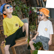 Loose Style Summer BB Tshirt Kids Boys Girls Tops O-Neck Short Sleeve Solid Yellow White 2017 New Children Clothing 2-14 Years