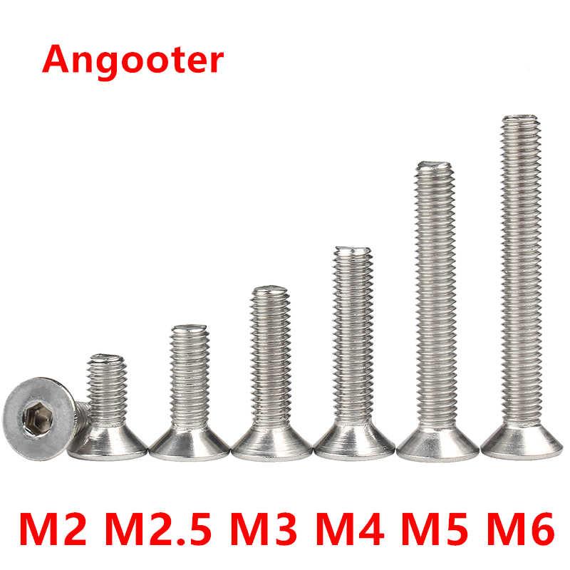 20Pcs M2//M2.5//M3//M4//M5//M6//M8 Tornillos Allen de cabeza avellanada plana Tornillo de acero al carbono hueca hexagonal Tornillos de m/áquina Tornillo M5x10mm