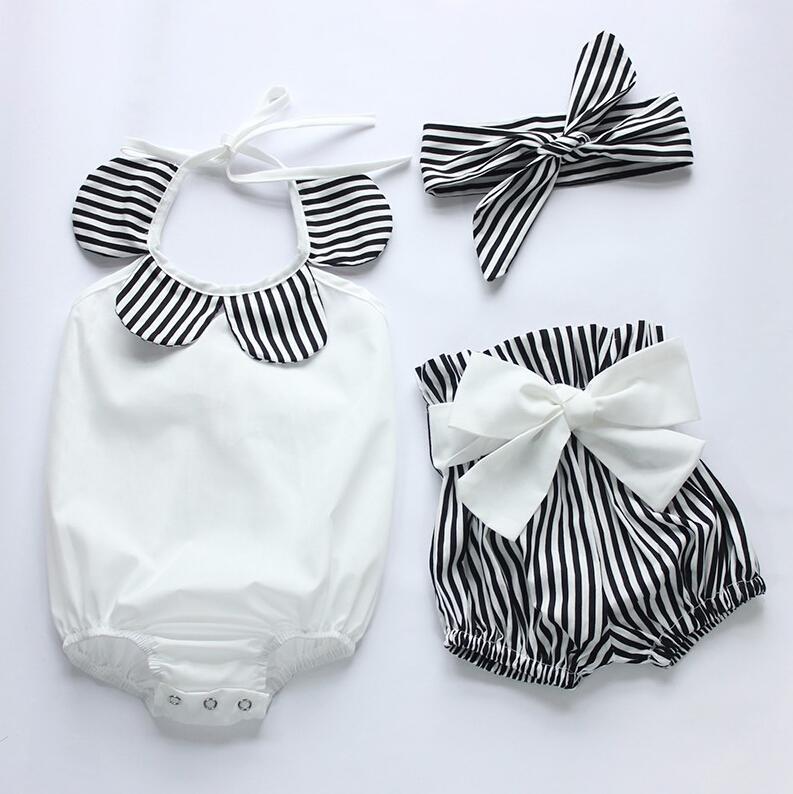 Newborn Baby Girl Body Bez Rękawów, Topy + Spodenki W Paski z Pałąkiem na głowę 3 sztuk Bottoms Stroje Sunsuit UK Cute Baby Girl Odzież 4