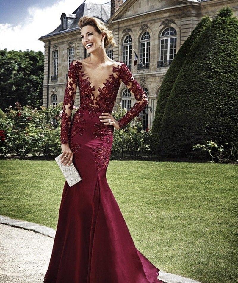 Sexy See Through Long Sleeve Lace Mermaid Burgundy   Prom     Dresses   2015 vestido formatura ballkleider