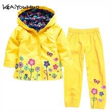Pijama infantil corta vento à prova dágua, conjunto de jaquetas + calça casaco esportivo para meninas outono e inverno