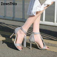ZawsThia 2019 Summer Sexy Peep Toe Purple Lady Thin High Heels T strap Women Shoes Woman Gladiator Sandals With Tassels Fringes