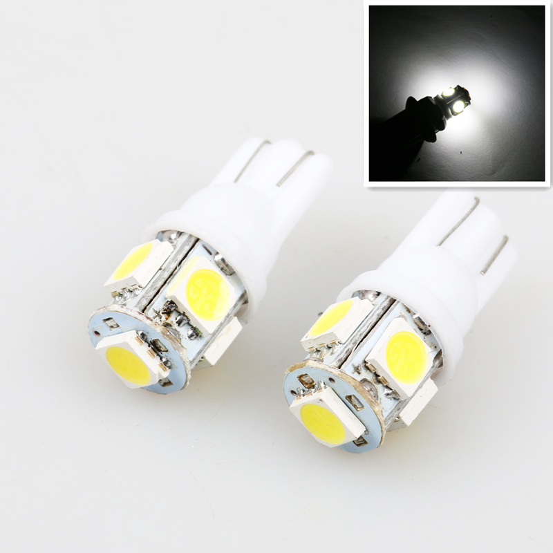 car styling 1PCS Auto T10 5 LED 1W 5050 W5W Wedge Door Parking Bulb Light Car 5W5 LED Dome Festoon C5W C10W License Plate Light 5 1w led bulb with ceramic housing