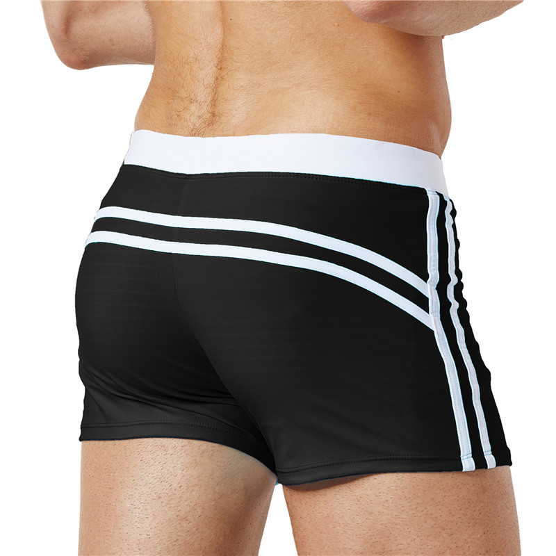 DICHSKI 2018 High Quality Swim Trunks Mens Swimwear Summer Swim Suits Briefs Boxer Shorts Stripe Drawstring Black Men Surf S-XXL