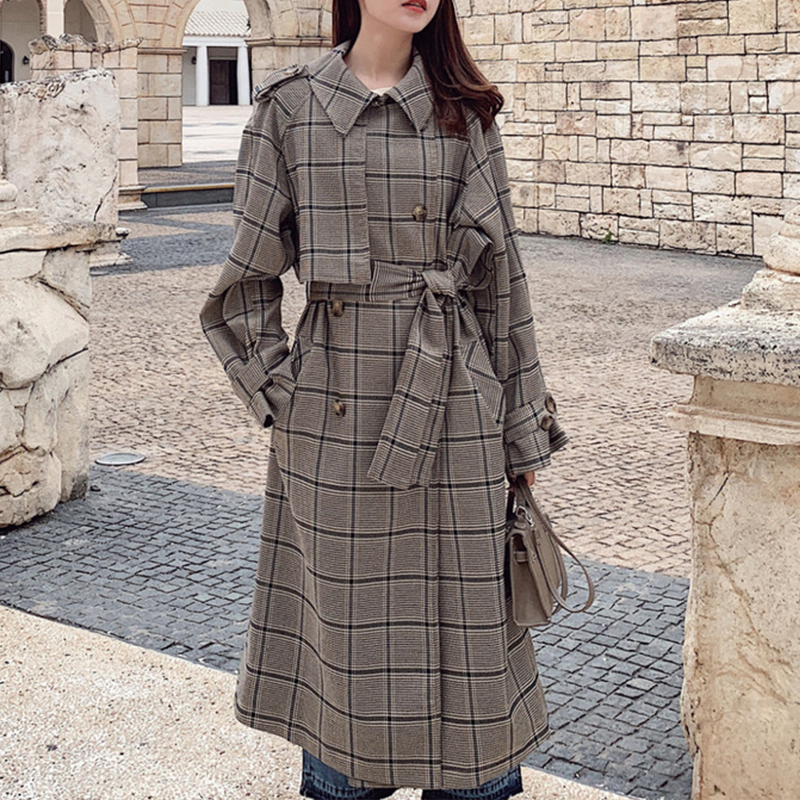 OMIKRON 2019 Plaid Coat Women Trench coat Fashion Double Breasted High quality Long Coats Casual Autumn Windbreaker Outerwear