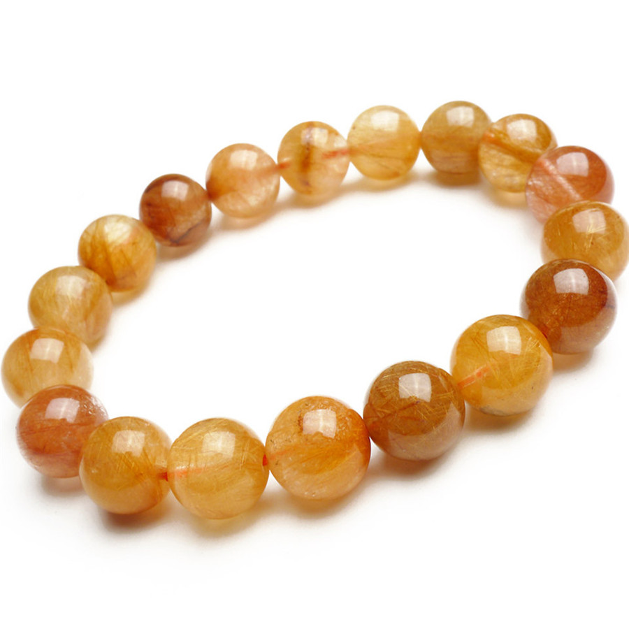 11mm Genuine Brazil Natural Copper Hair Rutilated Quartz Crystal Round Bead Bracelet Charm Stretch Bracelet Femme