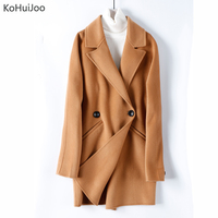 KoHuiJoo Women Winter Wool Jackets High Quality Female 100 Cashmere Wool Overcoat Double Breasted Elegant Double