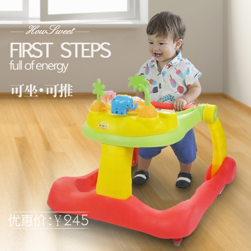 цена на Infant Baby Walker with Wheels U-type Anti-rollover Baby Learning Walkers Handpush Car with Music Folding Walking Assistant 0~18