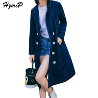 HziriP 2017 Streetwear Wide Waisted Solid Color Trench Coats Women Double Breasted Knee Length Full Sleeves