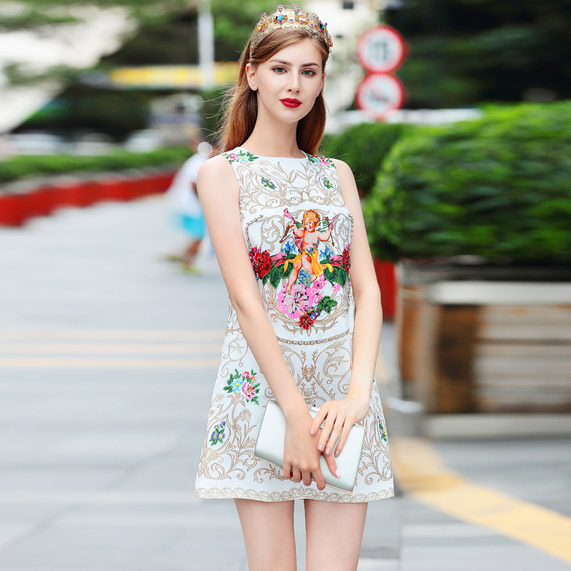 High quality 2019 new fashion designer runway dress Women s Sleeveless Vintage pattern angel Print Beaded