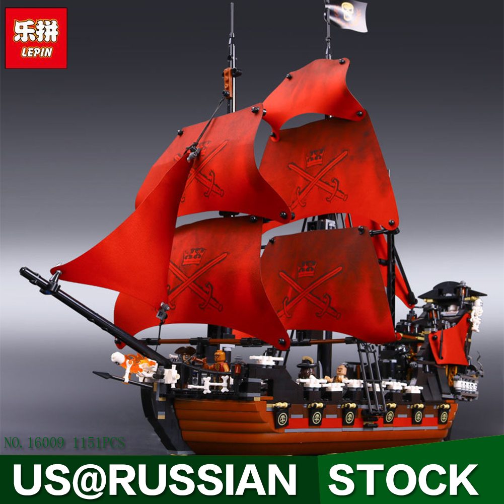 New LEPIN 16009 1151pcs Queen Anne's revenge Pirates of the Caribbean Building Blocks Set Bricks Compatible 4195 lepin compatible 16009 1151pcs pirates of the caribbean queen anne s reveage model building kit blocks brick toys for kids 4195